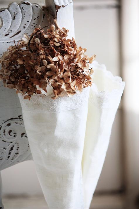 White Linen Cones