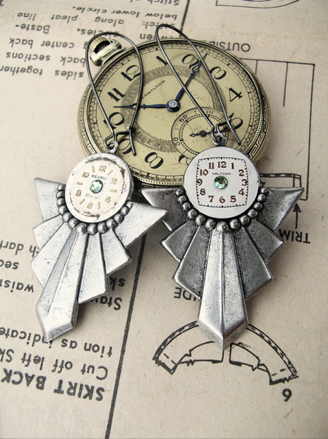 Art Deco Steampunk Earrings