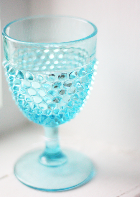 Aqua Hobnail Glass