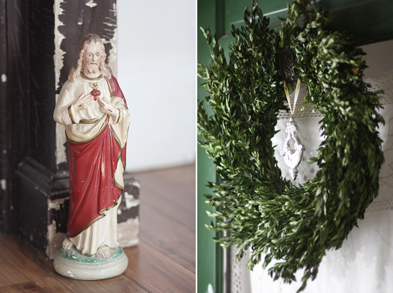 Chalkware Jesus and Boxwood Wreath