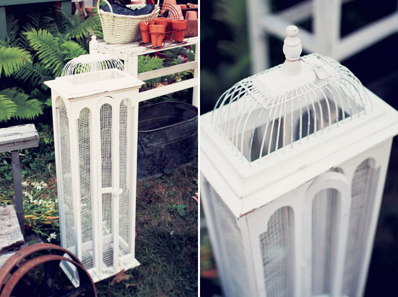 Shabby White Architectural Bird Cage