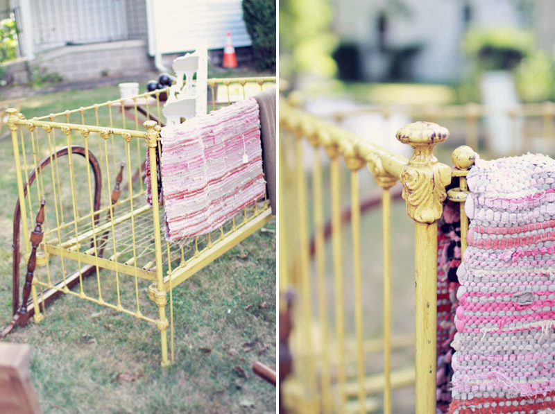 Antique Yellow Iron Baby Crib