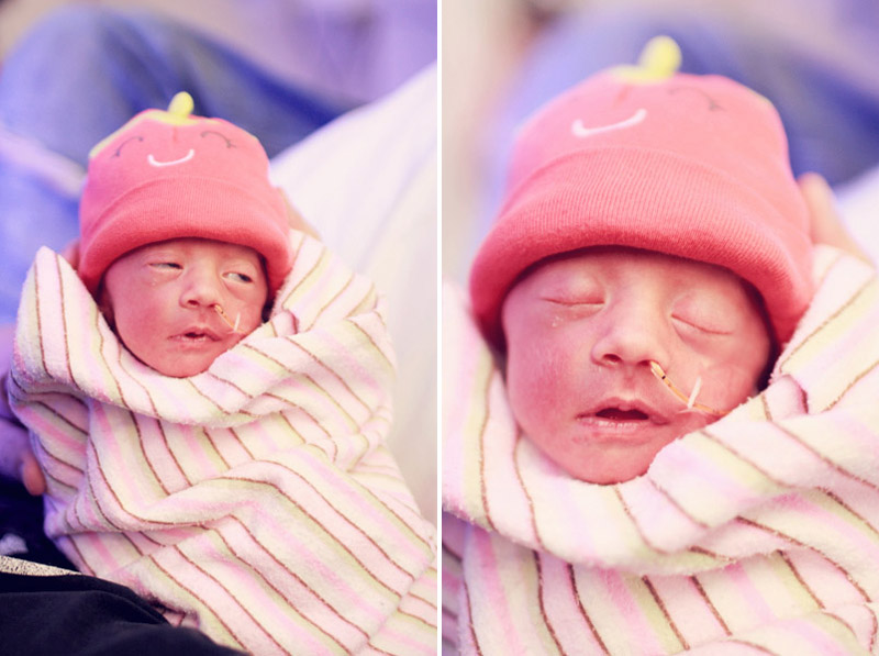 NICU Baby in Strawberry Hat