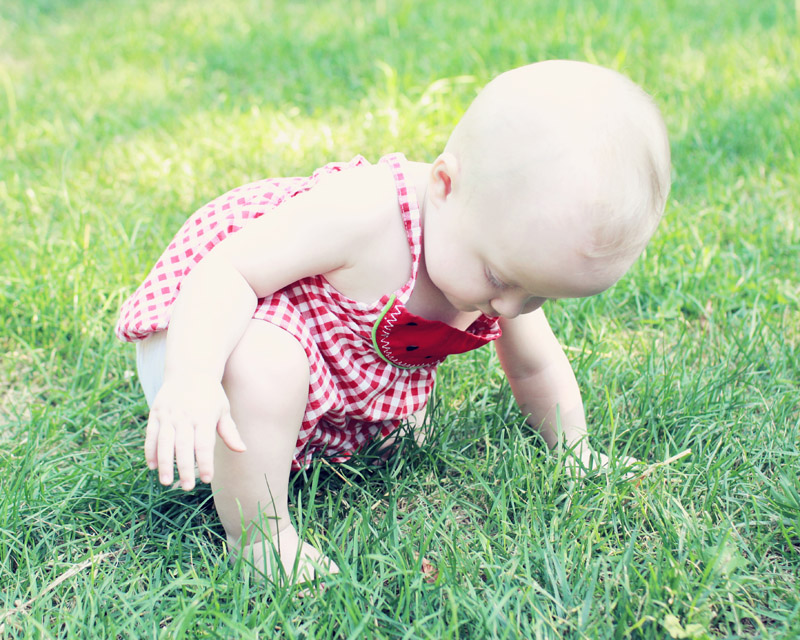 Baby Exploring in the Grass