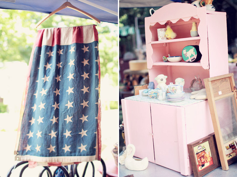 Old American Flag and Pink Cottage Childs Cupboard
