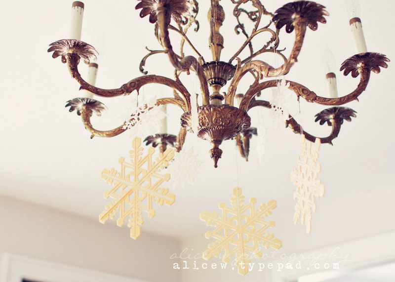 Snowflakes and Vintage Chandelier
