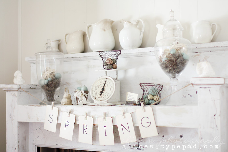 Rustic Spring Mantel decorating ideas