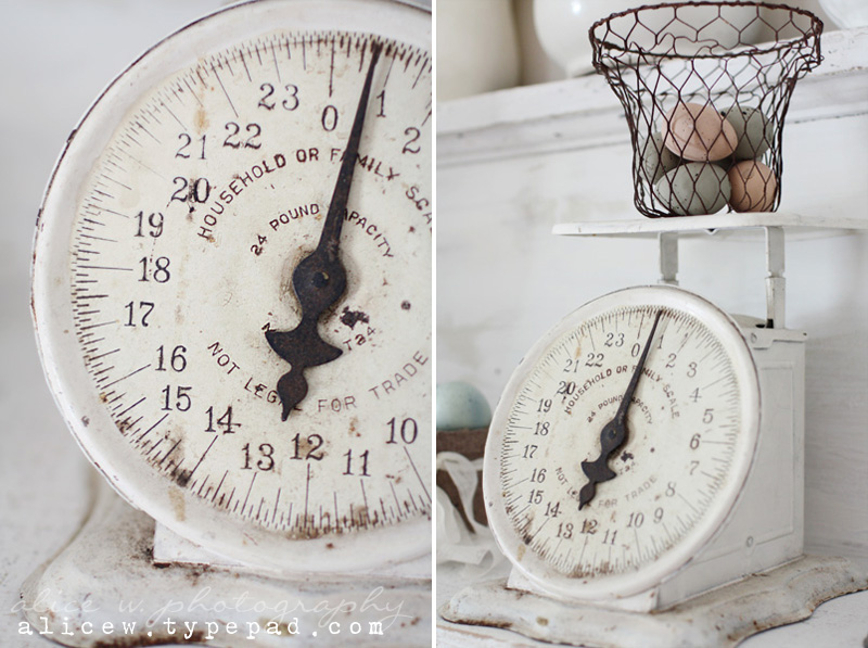 Rustic White Farmhouse Kitchen Scale
